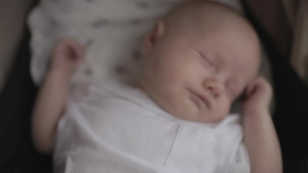 Hand-held shot of a baby sleeping Royalty-free stock video