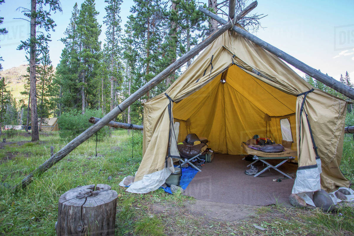 Backcountry C& With Wall Tent At Absaroka Beartooth Mountains In Montana & Backcountry Camp With Wall Tent At Absaroka Beartooth Mountains In ...