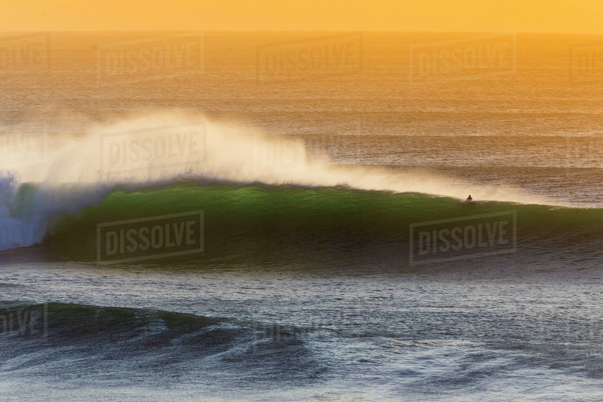 Lonely surfer and  ocean wave. Royalty-free stock photo