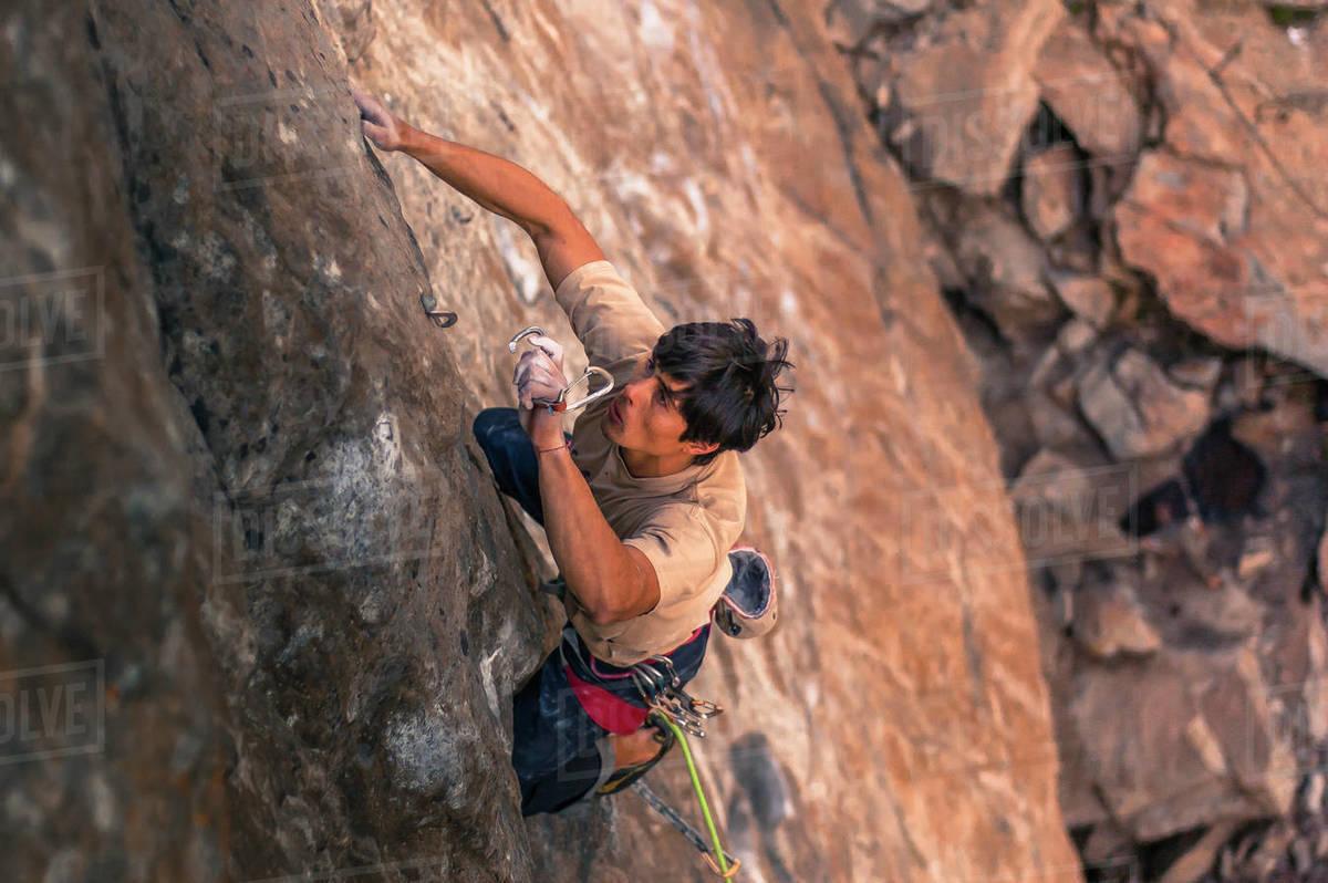 Man rock climbing inSkahaBluffs Provincial Park, Penticton, British Columbia, Canada Royalty-free stock photo