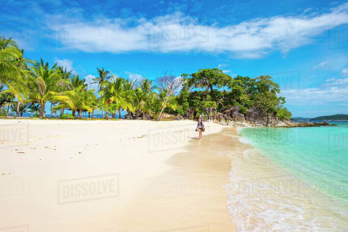 White Sand Beach On Malcapuya Island Philippines