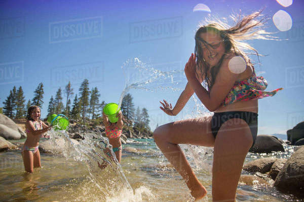 Girls Enjoying In The Water At Lake Tahoe, Nevada, Usa Royalty-free stock photo