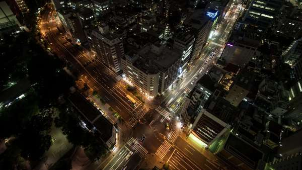 Timelapse Night View Of Traffic At Tomisakaue Crossing, Tokyo, Japan Royalty-free stock video