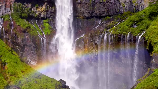 Rainbow at Kegon Falls, Tochigi Prefecture, Japan Royalty-free stock video