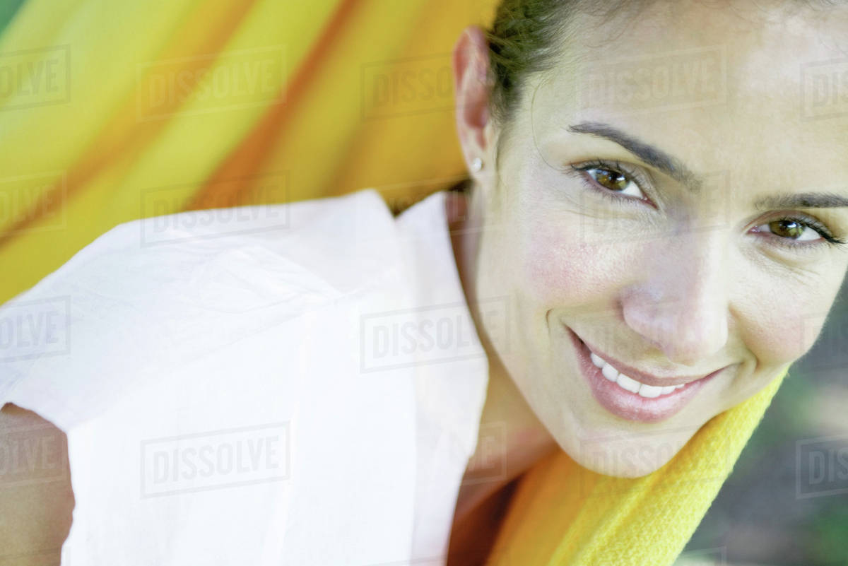 Woman resting in hammock, close-up Royalty-free stock photo