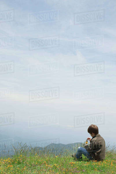 Boy sitting alone in meadow, picking wildflowers Royalty-free stock photo