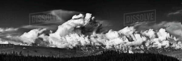 Black and white panoramic shot of Sawtooth Range in Banff National Park, Alberta, Canada. Royalty-free stock photo