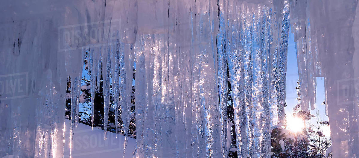 Hanging icicles against winter backdrop in Lake Louise, Banff National Park. Royalty-free stock photo