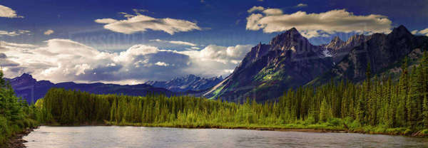 Landscape of Sawback Mountain Range at Bow River, Banff National Park Royalty-free stock photo