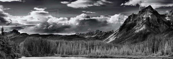 Black and white landscape of Sawback Mountain Range at Bow River Banff National Park Royalty-free stock photo