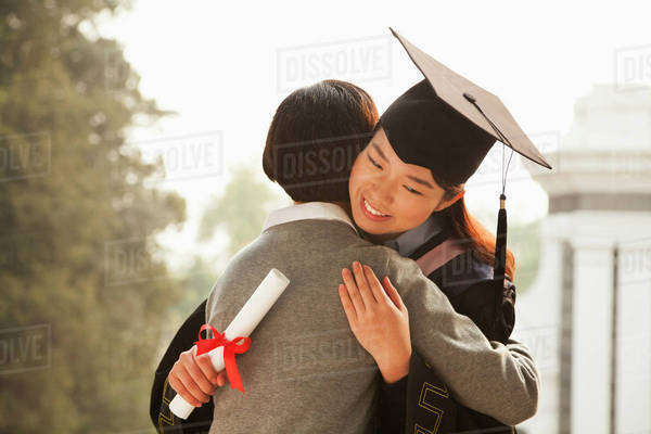 Mother and Graduate Hug Royalty-free stock photo