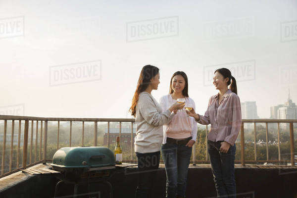 Young Women Toasting Each Other on Rooftop at Sunset Royalty-free stock photo