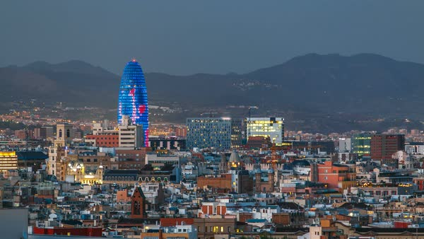 Barcelona cityscape with Agbar Tower standing out timelapse. View from Montjuic Royalty-free stock video