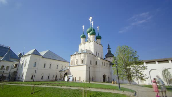 The Church of Resurrection and other churches in Rostov Kremlin timelapse hyperlapse. Ancient town of Rostov The Great is part of the Golden Ring of Russia and site of UNESCO. Royalty-free stock video