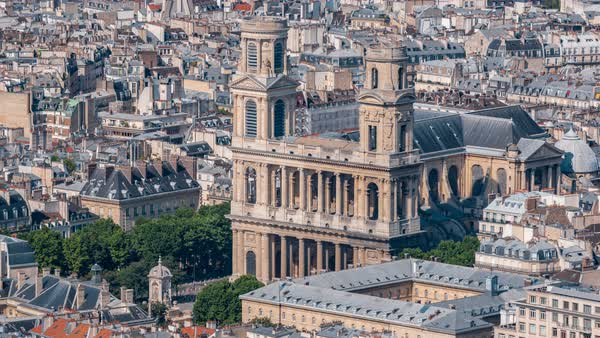 Top view of Paris skyline from above timelapse. Main landmarks of european megapolis with Church of Saint-Sulpice. Bird-eye view from observation deck of Montparnasse tower. Paris, France Royalty-free stock video