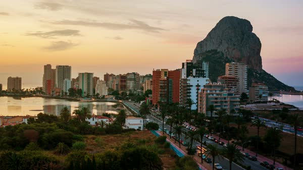 Sunrise over the summer mediterranean resort Calpe in Costa Blanca, Spain Royalty-free stock video