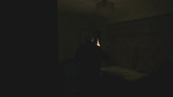 Old Grandpa Is A Dark Room With Kerosene Lamp Scary Ghost In The Night Stock Video Footage Dissolve