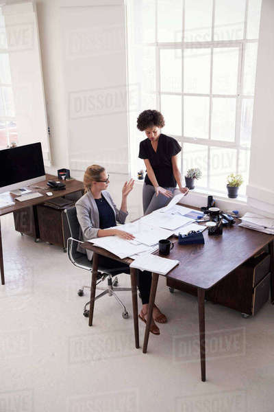 Two young businesswomen brainstorming in an office Royalty-free stock photo