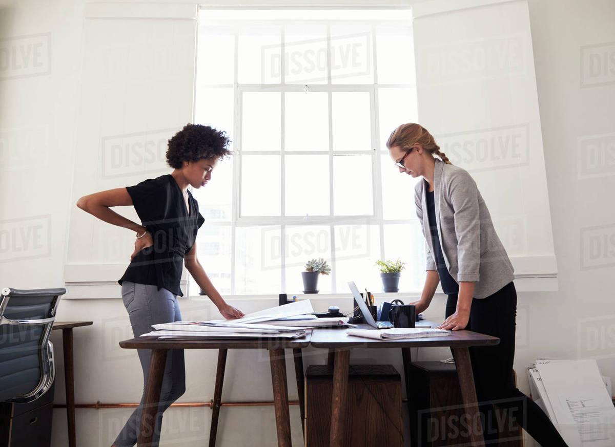 office furniture women executive office two women stand working at opposite sides of an office desk stock