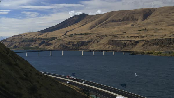 Static shot of Sam Hill Memorial Bridge spanning Columbia River Rights-managed stock video