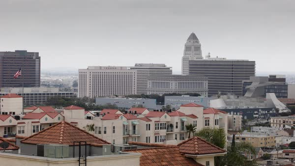 Establishing shot of the Civic Center neighborhood of Los Angeles, California on a gloomy day Rights-managed stock video