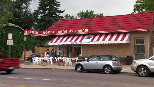 Static shot of an ice cream parlor in Denver, Colorado Rights-managed stock video