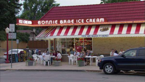 Zooming in of an ice cream parlor in Denver, Colorado Rights-managed stock video