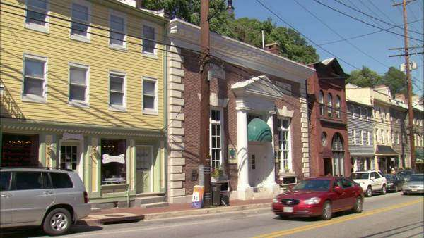 Static shot of a two-story building in Ellicott City Rights-managed stock video