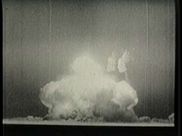 Locked-off shot of mushroom cloud of an atomic bomb Rights-managed stock video