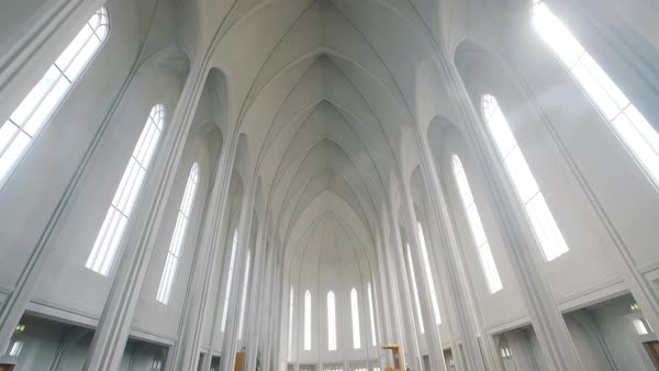 Low-angle shot of interior of Hallgrimskirkja church Royalty-free stock video