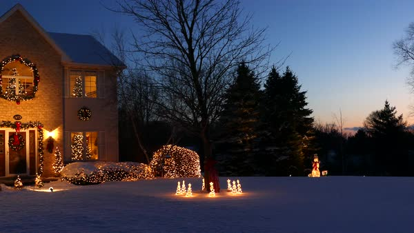 Very special holiday decorated home with Christmas lights, snowy panorama Royalty-free stock video