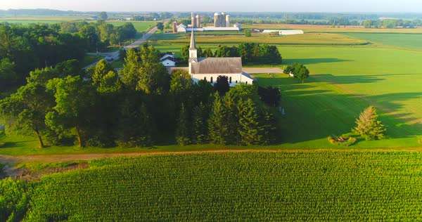 Exceptional beauty of rural Wisconsin Church, farms, aerial perspective Royalty-free stock video