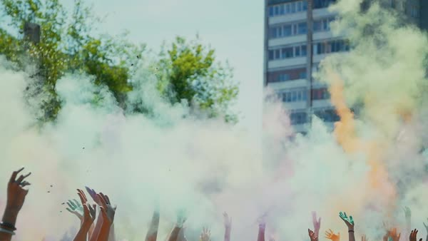 Celebration of holi colors festival , slow motion Royalty-free stock video