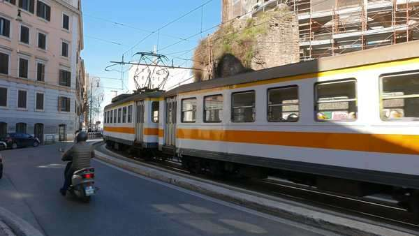 Tram with three wagons, Rome. Italy Royalty-free stock video