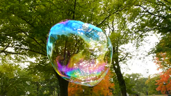 Close up shot of a soap bubble blowing in the wind Royalty-free stock video