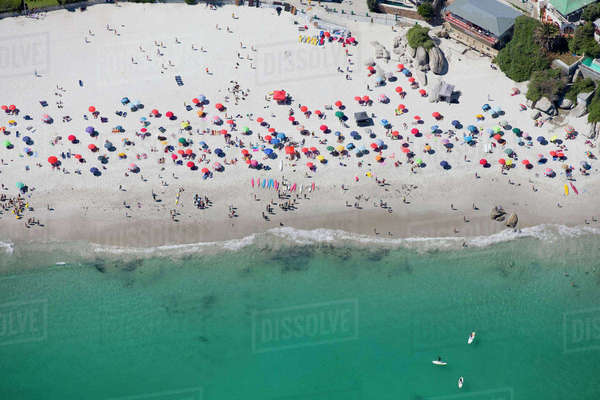 Aerial view of tourists on sunny beach in Cape Town, South Africa Royalty-free stock photo