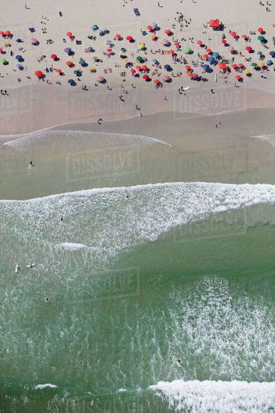 Aerial view of tourists on sunny beach Royalty-free stock photo