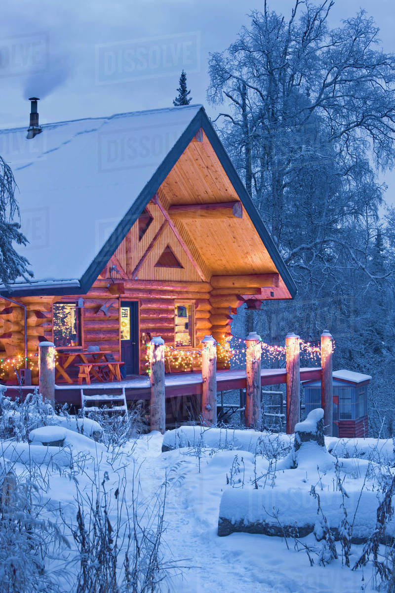 Log Cabin In The Woods Decorated With Christmas Lights At Twilight