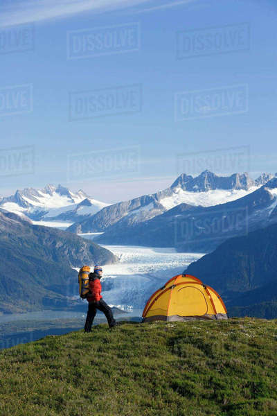 Hiker Next To Tent On Ridge Views Mendenhall Glacier and Coast Mountains Near Juneau Alaska During Summer Rights-managed stock photo