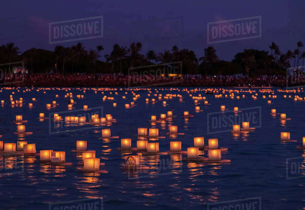 Floating lanterns at the Lantern Floating Hawaii Ceremony, in Ala Moana Beach park; Honolulu, Oahu, Hawaii, United States of America Rights-managed stock photo