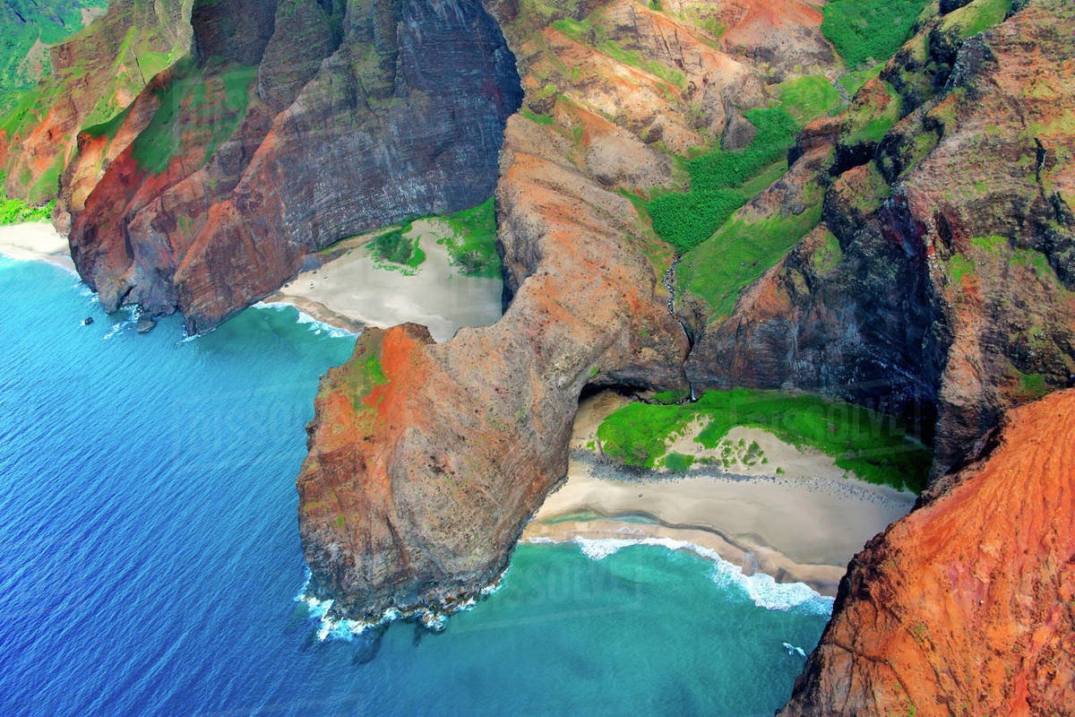 Hawaii Kauai Na Pali Coast Aerial Of Coastal Cliffs And Honopu Beach Or Cathedral