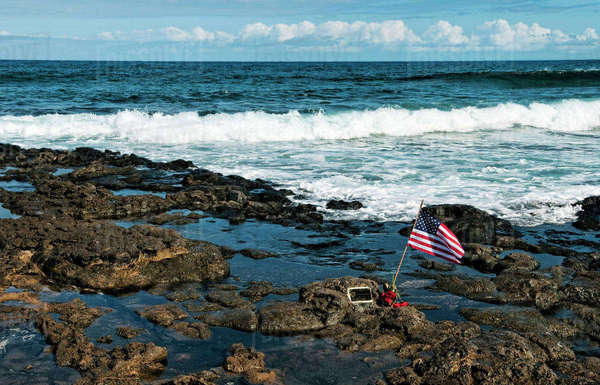 Hawaii, Friends And Family Leave Memorial For A Surfer That Passed Away. Rights-managed stock photo