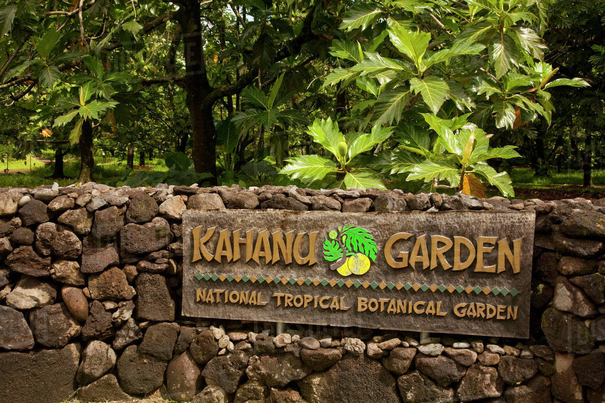 Hawaii, Maui, Hana, Sign At Kahanu Garden National Tropical ...