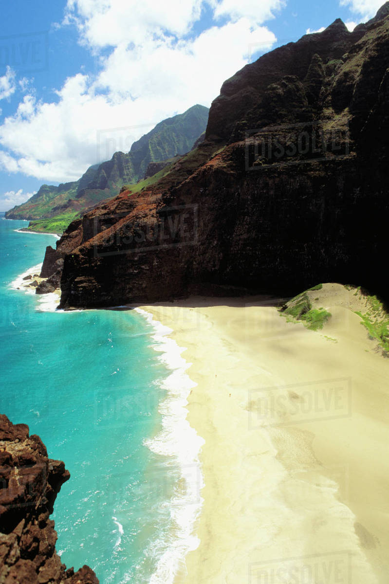 Hawaii Kauai Napali Coast Honopu Beach Secluded