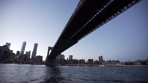Drone view moving under the Brooklyn Bridge, New York City, New York, USA Royalty-free stock video