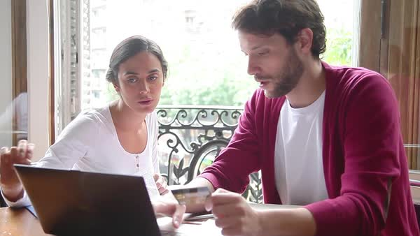 Couple shopping online using credit card Royalty-free stock video