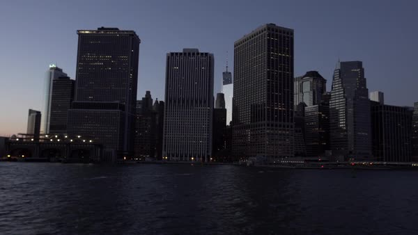 Waterfront buildings, Downtown Manhattan, New York City, New York, USA Royalty-free stock video