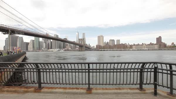 The East River viewed from Empire-Fulton Ferry State Park in Brooklyn, New York City, New York, USA Royalty-free stock video