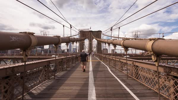 POV shot walking on the pedestrian deck of the Brooklyn Bridge, New York City, New York, USA Royalty-free stock video