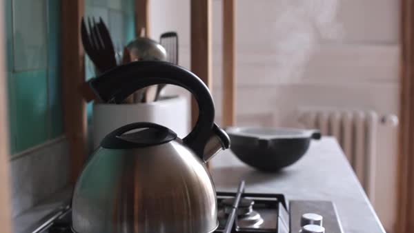 Tea kettle boiling on stovetop Royalty-free stock video